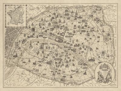 Rustic Paris Map