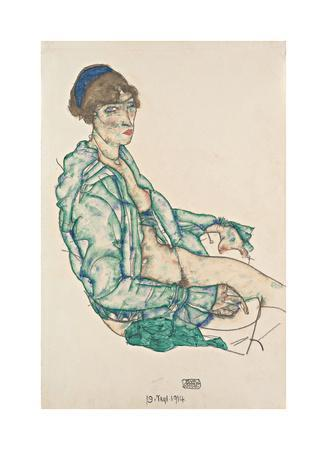 Sitting Semi-Nude with Blue Hairband, 1914