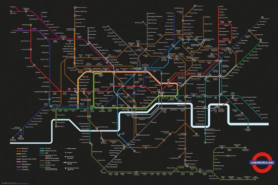 Transport For London Map.Transport For London Black Map