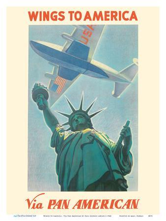 Wings to America - Via Pan American Airways - Statue of Liberty, New York