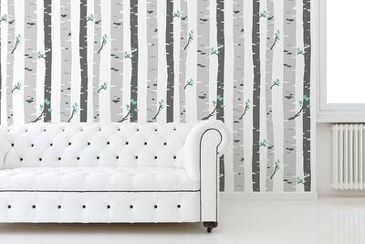 Vetiver Birch Tree Self-adhesive Wallpaper (Covering Area: ca 2.16m2)