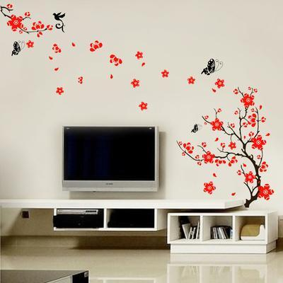 Red Blossom Flower Wall