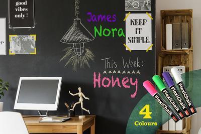 Blackboard with Flexichalk Marker Neon Colour Liquid Chalks Pen