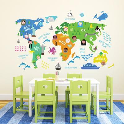Colourful Nursery World Map