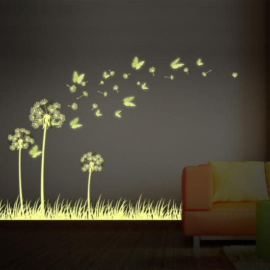 3d butterfly wall stckers wall decors wall art wall.htm art glow in dark dandelion with 3d butterflies  wall decal  art glow in dark dandelion with 3d