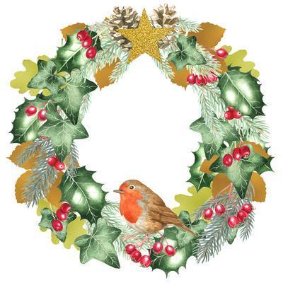 Christmas And Metallic Leaf Wreath