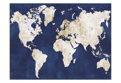 World Map Navy Gold
