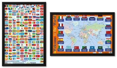 Flags of the World Framed Poster Set