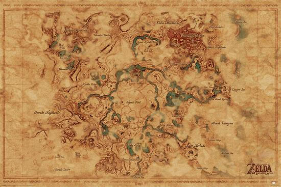 The Legend Of Zelda Breath Of The Wild Hyrule World Map Posters At