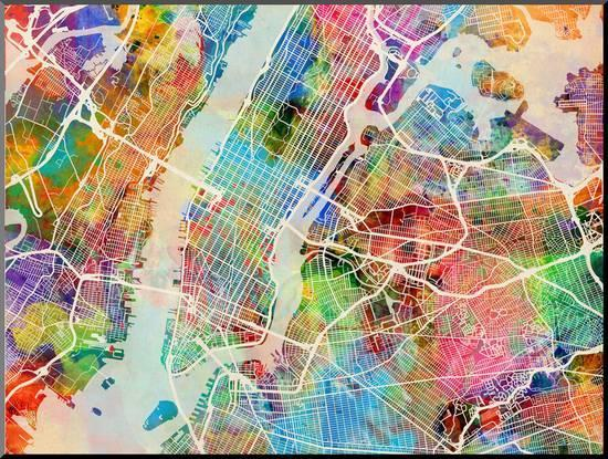 Street Map Of New York City.New York City Street Map Mounted Print By Michael Tompsett At