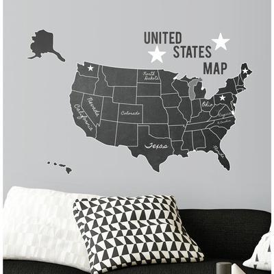 UNITED STATES CHALK MAP PEEL AND STICK GIANT WALL DECALS
