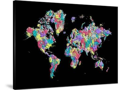 World Map Black Splashes