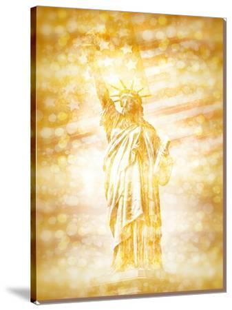 New York City Statue Of Liberty With American Banner Golden