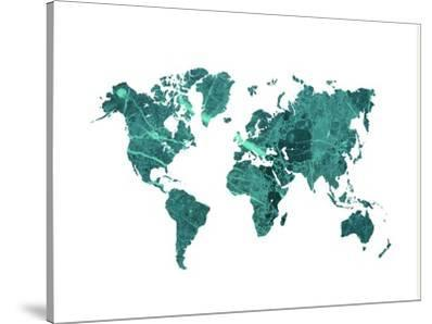 World Map Art Teal Marble