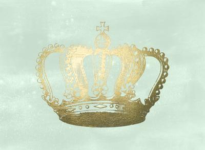 Gold Foil Crown I on Seafoam Wash