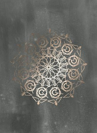 Rose Gold Foil Mandala III on Black Wash