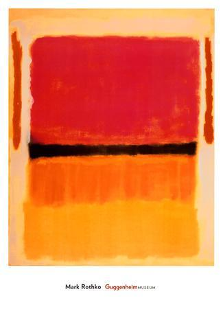 Untitled (Black, Orange, Yellow on White and Red), 1949