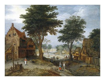 Bustling Village Landscape with Trees