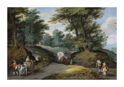 Wooded Landscape With Horses Carts And To The Market Attracting Farmers Wood Print