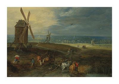 An Extensive Landscape With Travellers Before A Windmill