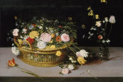 Basket And Glass Vase Of Flowers