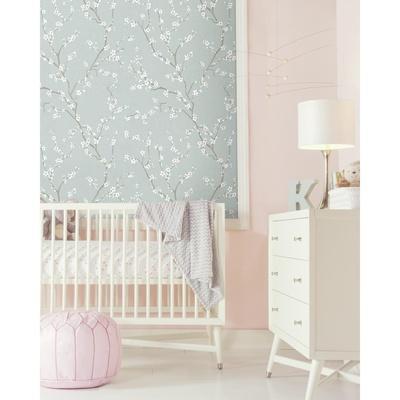 Blue Cherry Blossom Peel & Stick Wallpaper