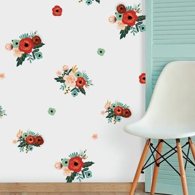 Mini Floral Peel And Stick Wall Decals With Embellishments