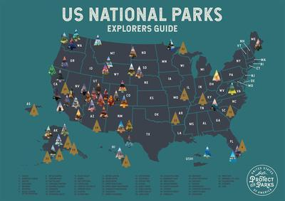 United States National Parks Scratch Off Poster in Blue