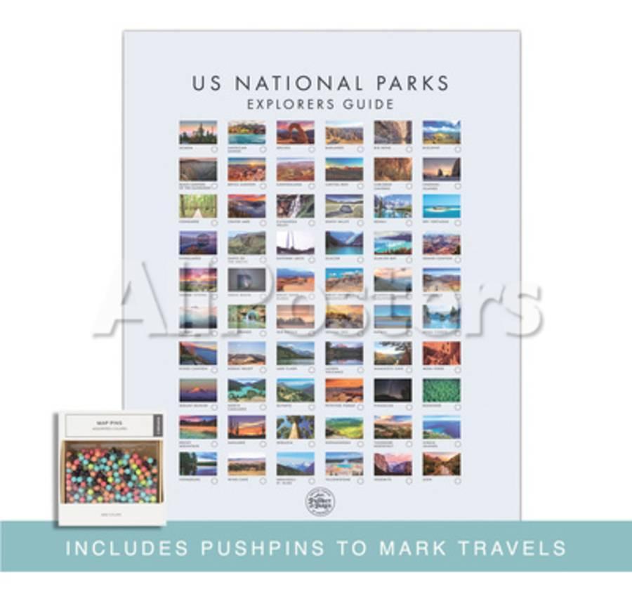 Pushpin USA National Park Map - Interactive Educational Travel Map Poster