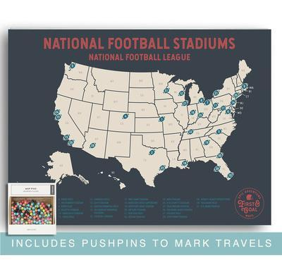 NFL Travel Map Poster - Mark Your Travels to Your Favorite Professional Football stadiums