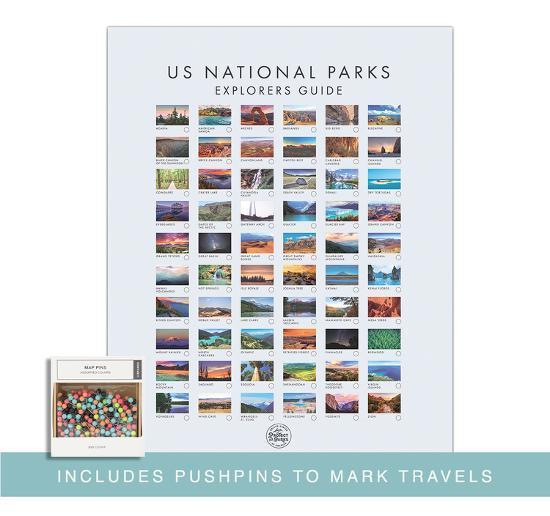 Pushpin USA National Park Map - Interactive Travel Map Poster
