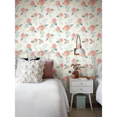Magnolia Home Watercolor Roses Removable Wallpaper