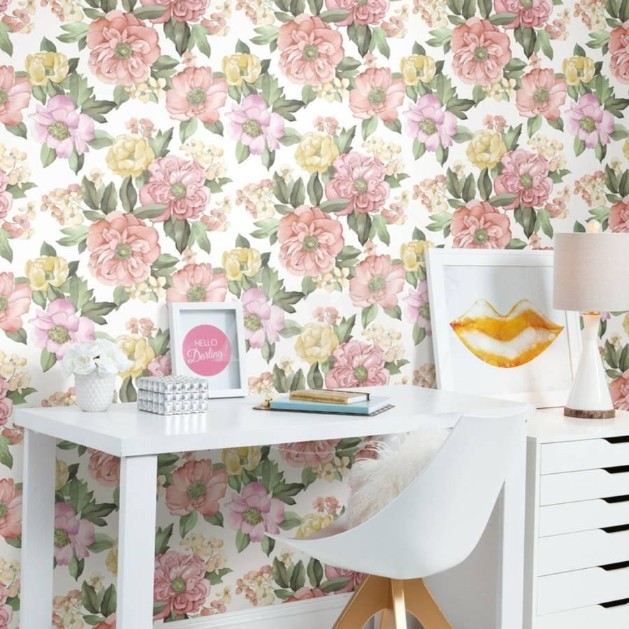 Watercolor Floral Bouquet Removable Wallpaper Wall Decal At