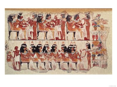 Banquet Scene, from Thebes, circa 1400 BC (Wall Painting)