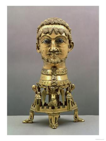 Reliquary Bust of Frederick I (circa 1123-1190), German, Made in Aachen, 1155-71 (Gilded Bronze)