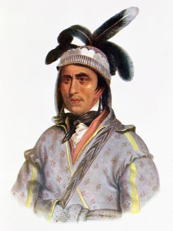 """Opothle-Yoholo, a Creek Chief, Illustration from """"The Indian Tribes of North America, Vol.2"""""""