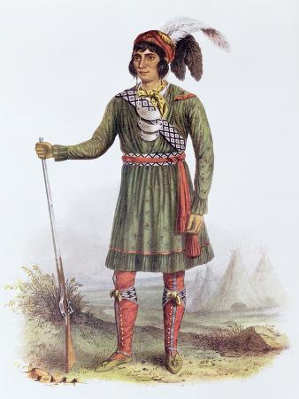 Osceola or Rising Sun, a Seminole Leader, Illustration from the Indian Tribes of North America