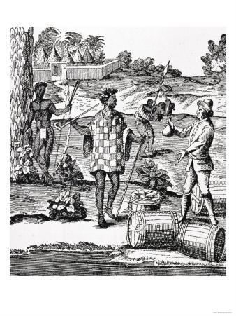 """Spaniard Bartering with Natives of Patagonia, from De Gennes' """"Voyage to the Straits of Magellan"""""""