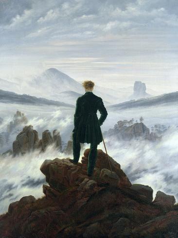 CASPAR DAVID FRIEDRICH 1818 Wanderer above Sea of Fog Romanticism Art Poster