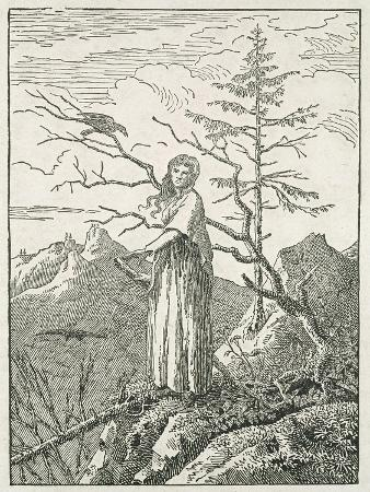 Woman with a Raven, on the Edge of a Precipice