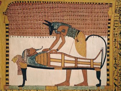 Anubis Attends Sennedjem's Mummy, from the Tomb of Sennedjem, the Workers' Village, New Kingdom