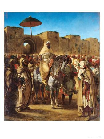Sultan of Morocco, Leaving His Palace of Meknes with His Entourage, March 1832, 1845