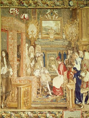 Louis XIV (1638-1715) Receiving the Papal Legate at Fontainebleau, Detail from a Gobelins Tapestry