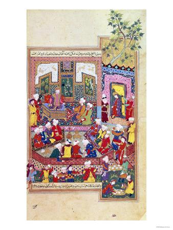 "Ulugh Beg (1393-1449) Dispensing Justice at Khurasan, Illustration from the ""Shahnama"""