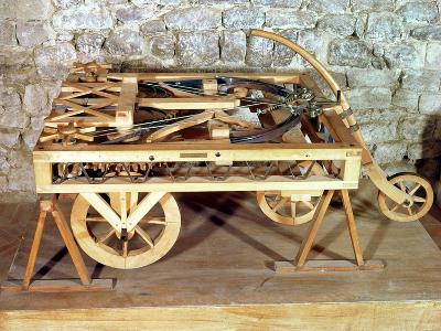 Model of a Car Driven by Springs, Made from One of Leonardo's Drawings