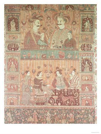 Bedspread Depicting Native Potentates and European Traders in Golconda, 17th Century