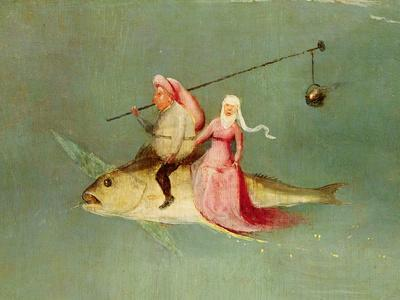 The Temptation of St. Anthony, Right Hand Panel, Detail of a Couple Riding a Fish