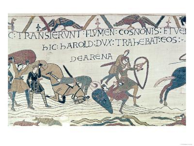 Harold Drags Soldiers from the Quicksand, from the Bayeux Tapestry (Embroidery on Linen)
