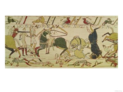The French and the English Fall Side by Side in Battle, from the Bayeux Tapestry