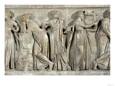 Sarcophagus of the Muses, Detail Depicting Calliope, Polyhymnia and Terpsichore, circa 160 AD